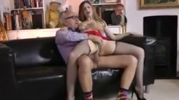 Thin model rides, fucks, sucks old man