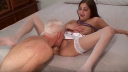 Old sagy man fucks young tight brunette