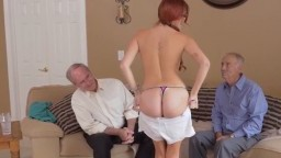 Two grandpas fuck young redhead