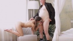 Sexy chick licking old man's hairy balls
