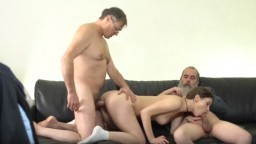 Two old dudes double penetrate young chick