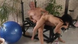 Gym whore ends up fucking an old man as nobody else is there